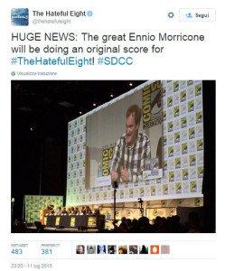 Uno dei tweet con cui è stata confermata la collaborazione Tarantino-Morricone