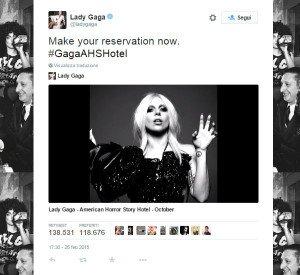Il tweet con cui Lady Gaga ha rivelato di essere entrata nel cast di AHS Hotel