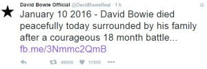 Il tweet pubblicato sull'account ufficiale di David Bowie che ne annuncia la scomparsa.