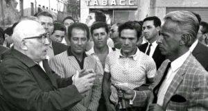 Cesare Zavattini,Gillo Pontecorvo,Pier Paolo Pasolini e Carlo Mazzarella a Venezia, durante le contestazioni del 1968
