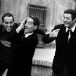 """Tiberio Murgia con Vittorio Gassman e Marcello Mastroianni ne """"I soliti ignoti vent'anni dopo"""" (1985)"""