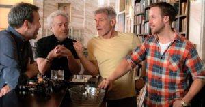 I protagonisti dell'epopea di Blade Runner 2049: Denis Villeneuve, Ridley Scott, Harrison Ford e Ryan Gosling