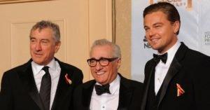 Scorsese in mezzo a due dei suoi attori prediletti, De Niro e DiCaprio