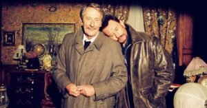 Jean Rochefort e Johnny Hallyday sul set del film di Leconte