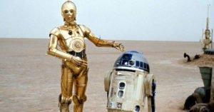 saga star wars c3po r2d2 robot deserto
