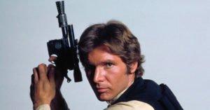 harrison ford han solo pistola foto promozionale guerre stellari