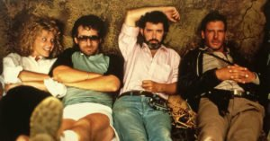 Kate Capshaw, Steven Spielberg, George Lucas e Harrison Ford sul set de 'Il tempio maledetto'