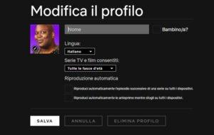 netflix schermata modifica profilo blocco automatico anteprime riproduzione automatica